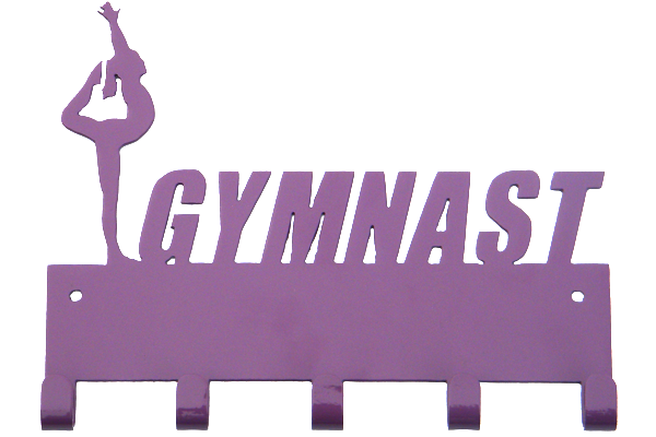 Female Gymnast Purple 5 Hook Medal Display Hanger