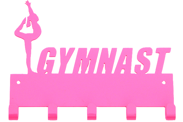 Female Gymnast Hot Pink 5 Hook Medal Display Hanger