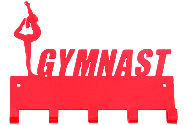 Female Gymnast Red 5 Hook Medal Display Hanger