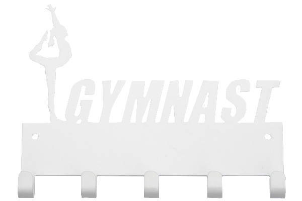 Female Gymnast White 5 Hook Medal Display Hanger