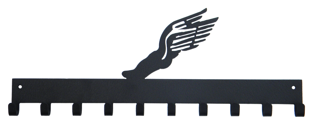 Track Shoe with Wings Black 10 Hook Medal Display Hanger