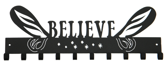 Tinkerbell Believe with Wings Black 10 Hook runDisney Medal Hanger