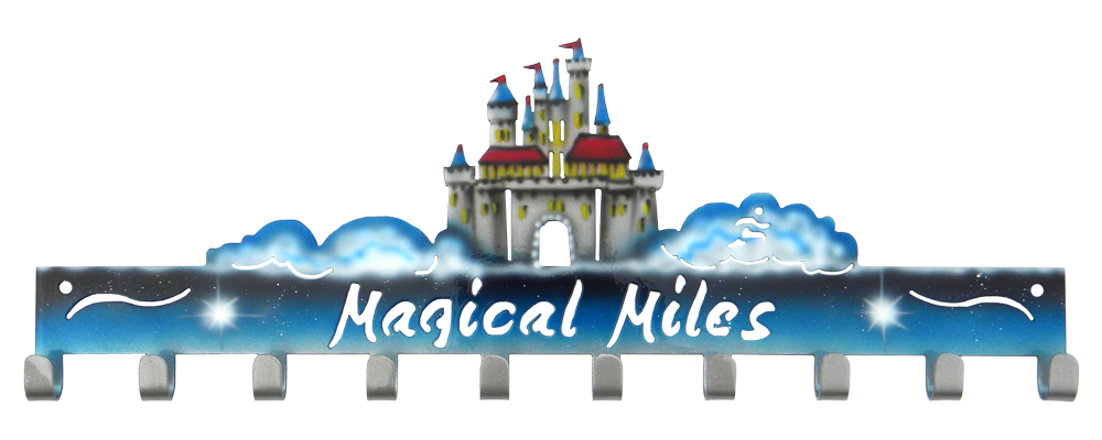 Disney Magical Miles Castle 10 Hook Custom Painted runDisney Medal Hanger