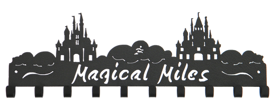 Disney Magical Miles 2 Castle 10 Hook Black Medal Hanger