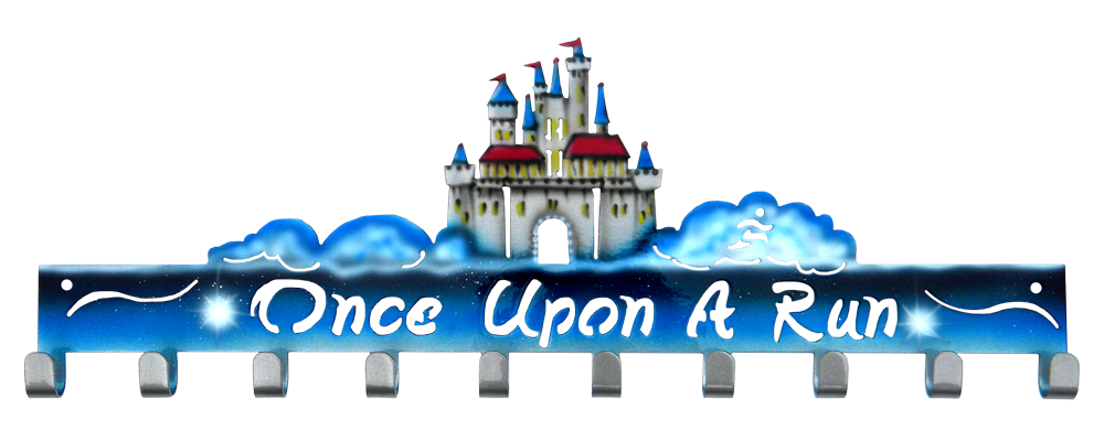 Disney Once Upon A Run Castle 10 Hook Custom Painted Medal Hanger