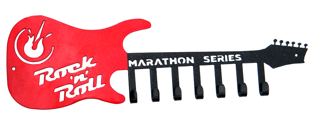 Rock n Roll Marathon Guitar Black & Red Sparkle 7 Hook Medal Display Hanger