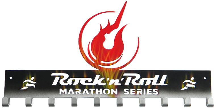 Rock 'n' Roll Marathon Series Guitar - Custom Painted Flames Medal Hanger