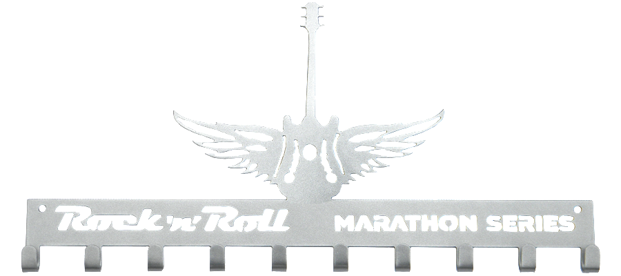 Rock n Roll Marathon Series Winged Guitar Silver 10 Hook Medal Display Hanger