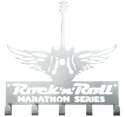 Rock n Roll Marathon Series Winged Guitar Silver 5 Hook Medal Display Hanger