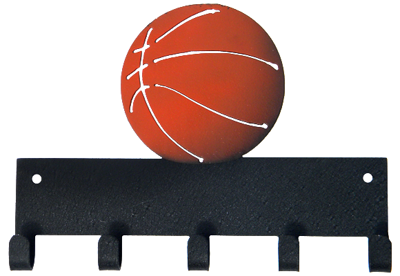 Basketball Black with Orange Ball 5 Hook Medal Display Hanger