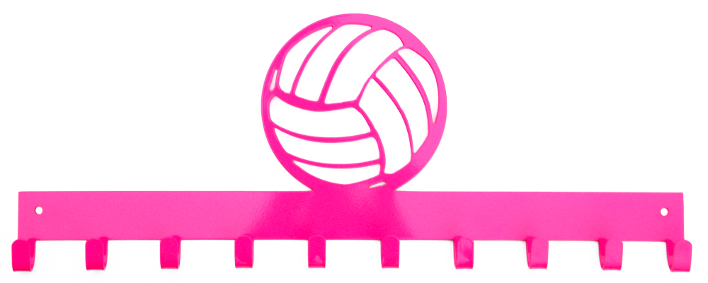 Volleyball Hot Pink 10 Hook Medal Display Hanger