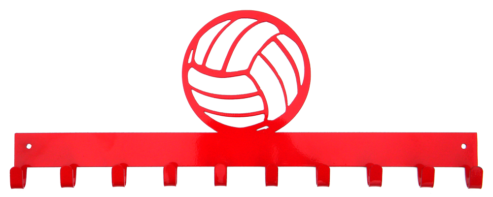 Volleyball Red 10 Hook Medal Display Hanger