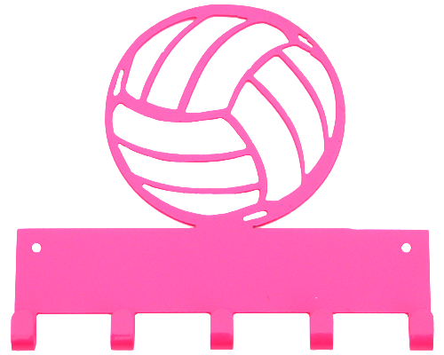Volleyball Hot Pink 5 Hook Medal Display Hanger