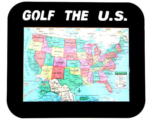 Golf United States Black Framed Map Display