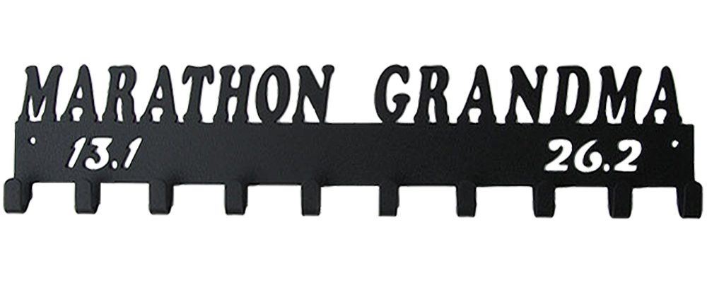 Marathon Grandma 13.1 & 26.2 Black 10 Hook Medal Display Hanger