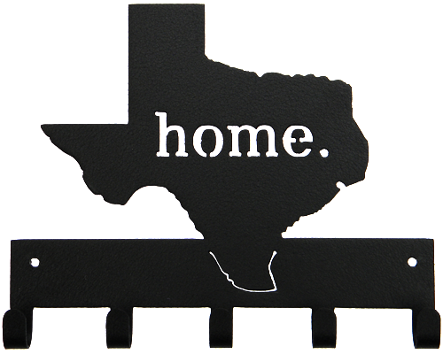 Texas Home Black 5 Hook Key, Jacket, Hat, Medal Hanger Custom