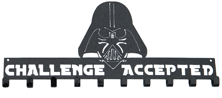 Star Wars Darth Vader Challenge Accepted 10 Hook Black Sparkle Medal Hanger