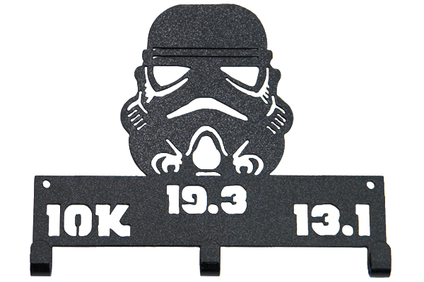 Star Wars Storm Trooper Challenge 10K, 13.1, 19.3 - 3 Hook Black Sparkle Medal Hanger
