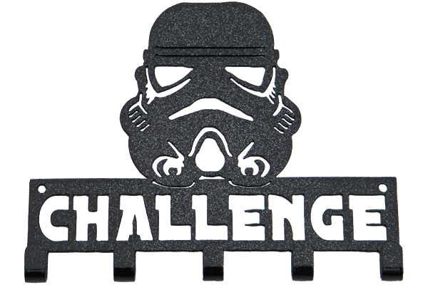 Star Wars Storm Trooper Challenge 5 Hook Black Sparkle Medal Hanger