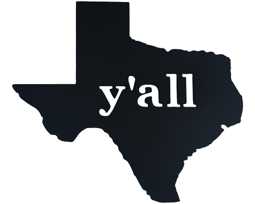 Texas Y'all Black Wall Emblem