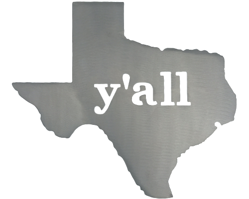 Texas Y'all Silver Wall Emblem