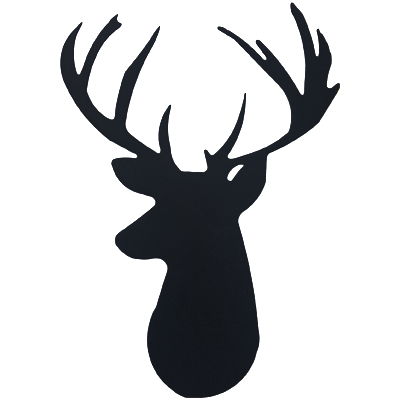 Deer Head Black Metal Wall Sign Decor