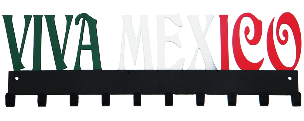 Viva Mexico Custom Green White & Red 10 Hook Medal Display Hanger