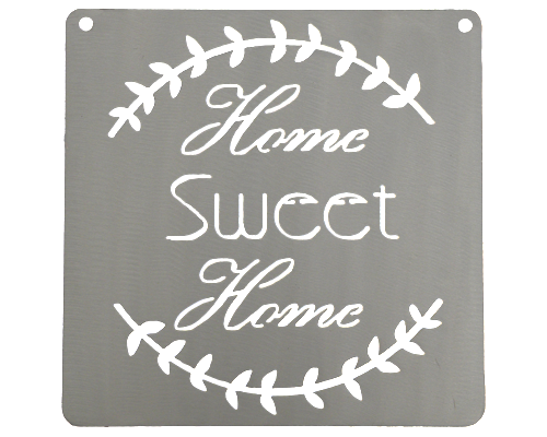 Home Sweet Home Silver Metal Mantra Display