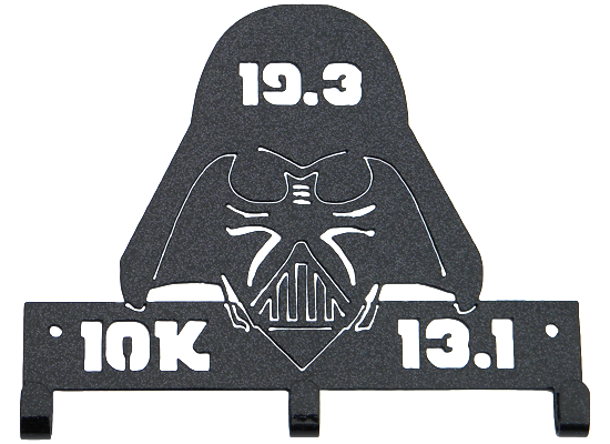Star Wars Darth Vader Galaxy Dark Challenge (10K, 13.1, 19.3) Marathon Black Sparkle 3 Hooks Medal Hanger