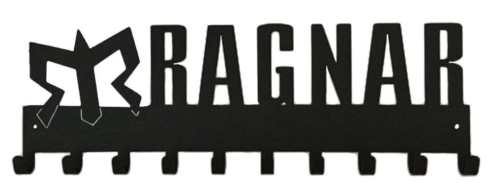 Official Ragnar Race Series Black 10 Hook Medal Hanger