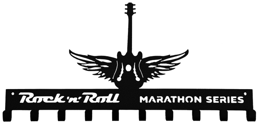 Rock n Roll Marathon Series Winged Guitar Black 10 Hook Medal Display Hanger