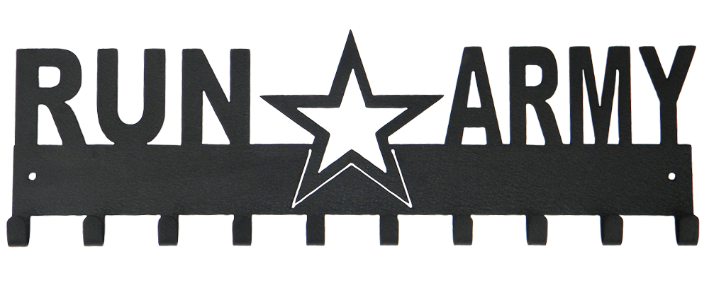 Run Army with Star - 10 Hook - Black Medal Display Hanger