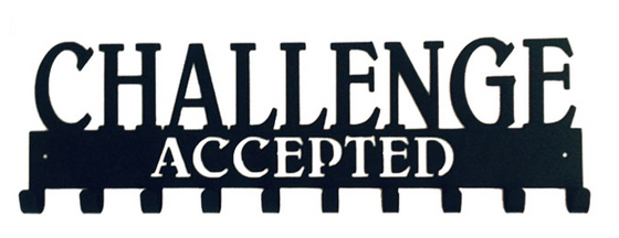 Challenge Accepted Quote 10 Hook Black Medal Display Hanger