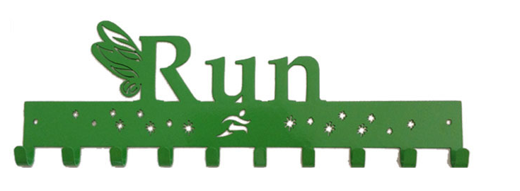 Tinkerbell Run with Wings 10 Hook Green Medal Hanger