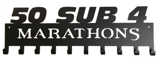 50 Sub 4 Marathons Club 10 Hook Black Medal Display Hanger