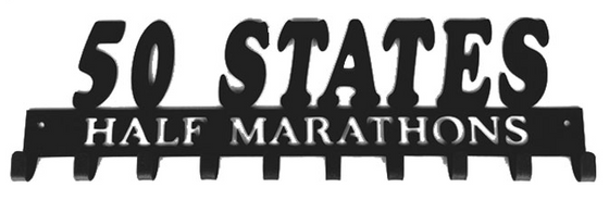 50 States Half Marathons Club 10 Hook Black Medal Display Hanger