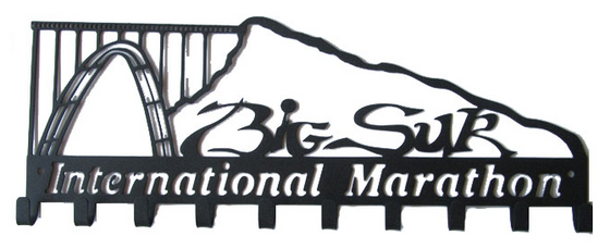 Big Sur International Marathon Open Mountain 10 Hook Black Medal Hanger