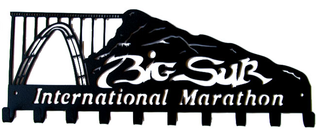 Big Sur International Marathon Full Mountain 10 Hook Black Medal Hanger