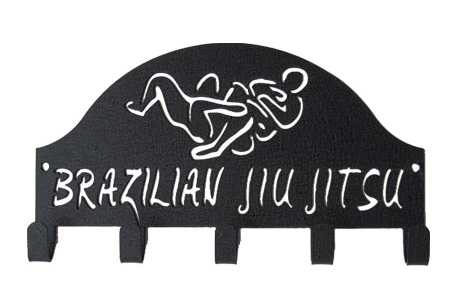 Brazilian Jiu Jitsu Black 5 Hook Medal Display Hanger