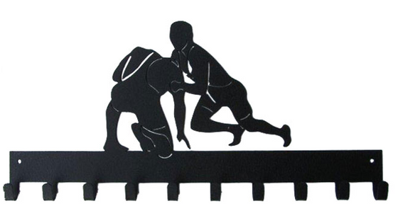 Wrestling Figures Black 10 Hook Medal Display Hanger