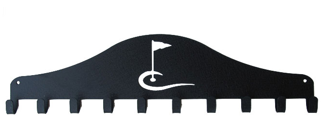 Golf Flag Black 10 Hook Medal Display Hanger