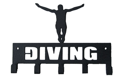 DIVING with Diver Black 5 Hook Medal Display Hanger
