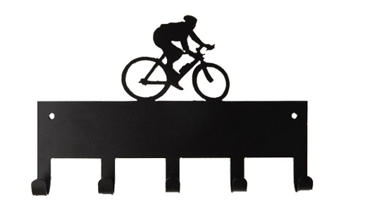 Cycling Person Riding Bike Black 5 Hook Medal Display Hanger