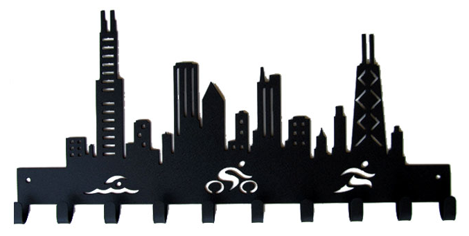 Chicago Skyline Triathlon 10 Hook Black Medal Hanger