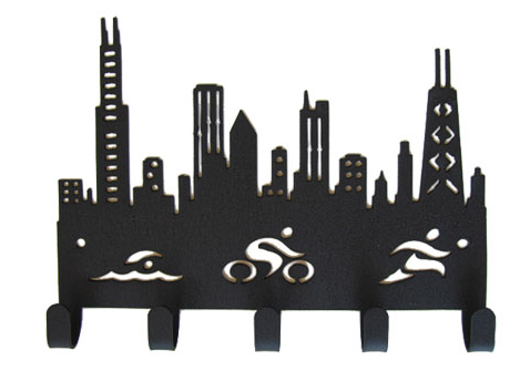 Chicago Skyline Triathlon 5 Hook Black Medal Hanger