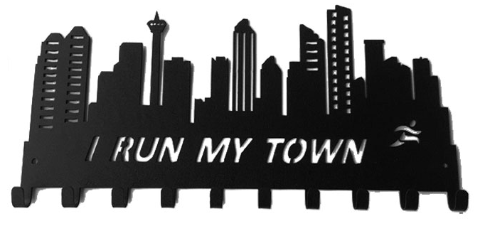 Calgary Skyline I Run My Town Black 10 Hook Medal Display Hanger