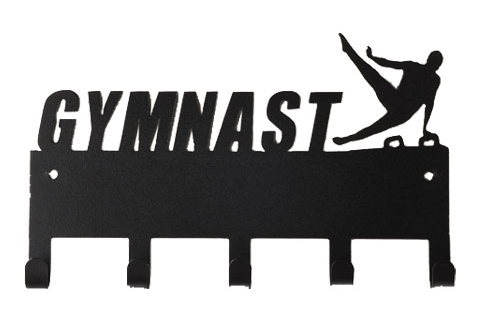 Male Gymnast Black 5 Hook Medal Display Hanger