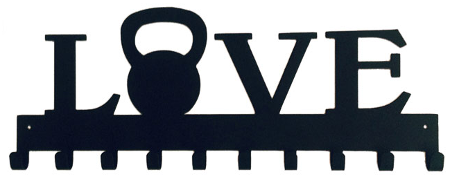 Love with Kettle bell Weight Black 10 Hook Medal Display Hanger