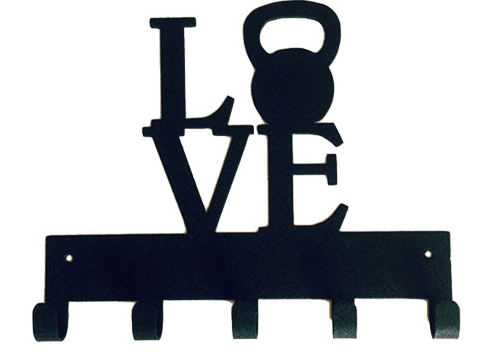 Love with Kettle bell Weight Black 5 Hook Medal Display Hanger