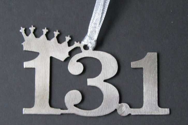 Disney Silver 13.1 Half Marathon Tilted Crown Dangler Ornament